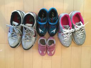 普段使用していない靴をベット脇に家族分用意