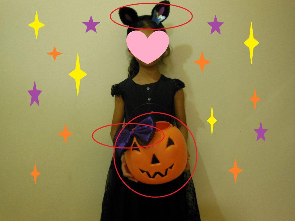 カチューシャ・かぼちゃ・かぼちゃに付けたリボンが100均のもの