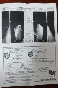 靴売り場でサイズ計測すると結果を記入した用紙がもらえます。このきょうだいは2人とも「細足さん」。