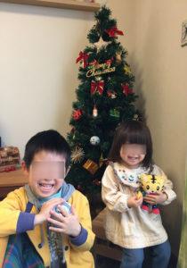 昨年のクリスマスの朝。満面の笑顔