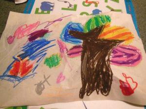 レインボーの絵、3連発!花、ハート、木まで、もうなんでもレインボー!色使いがアメリカンです。