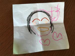 お友だちにもらった似顔絵のお手紙。たくさんお友だちができて楽しくなってきたみたい